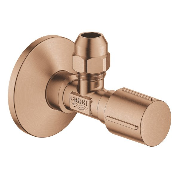 Grohe hoekstopkraan knel met teflon dichtingsring 1/2x3/8 m. metalen greep brushed warm sunset 22039
