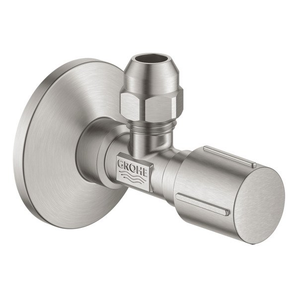 Grohe hoekstopkraan knel 1/2x3/8 m. metalen greep supersteel 22037DC0