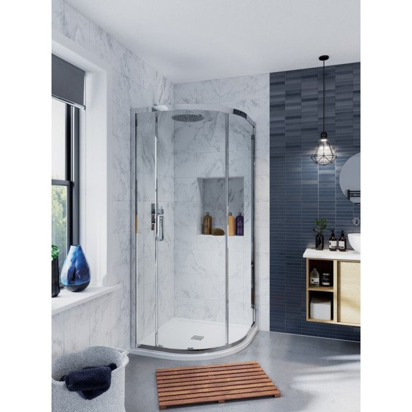 Crosswater Infinity douchecabine kwartrond 120x90x200 chroom IQSSC12X9