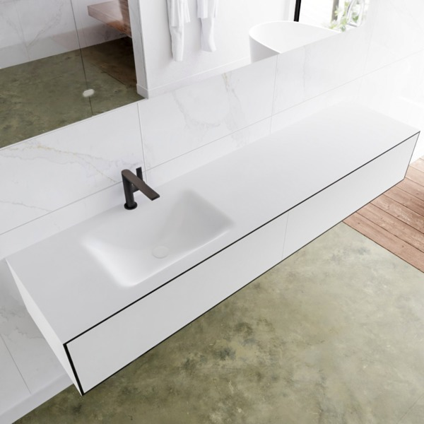 MONDIAZ LAGOM 190cm badmeubel solid surface urban 2 lades Wastafel cloud links 1 kraangat SW409250