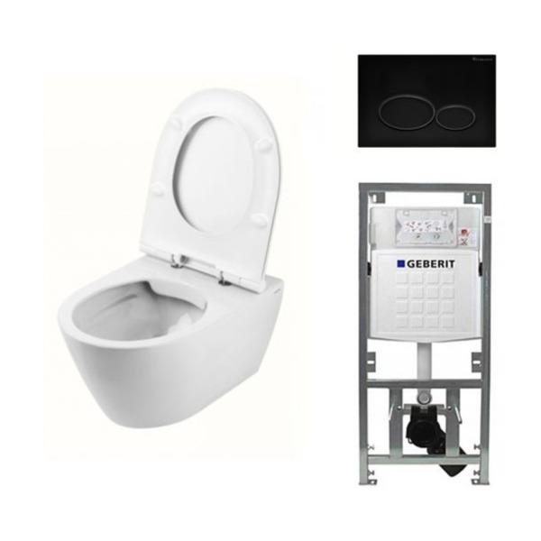 Throne Bathrooms Salina Rimfree toiletset inclusief toiletzitting, inbouwreservoir en mat zwart bedieningspaneel SW228055