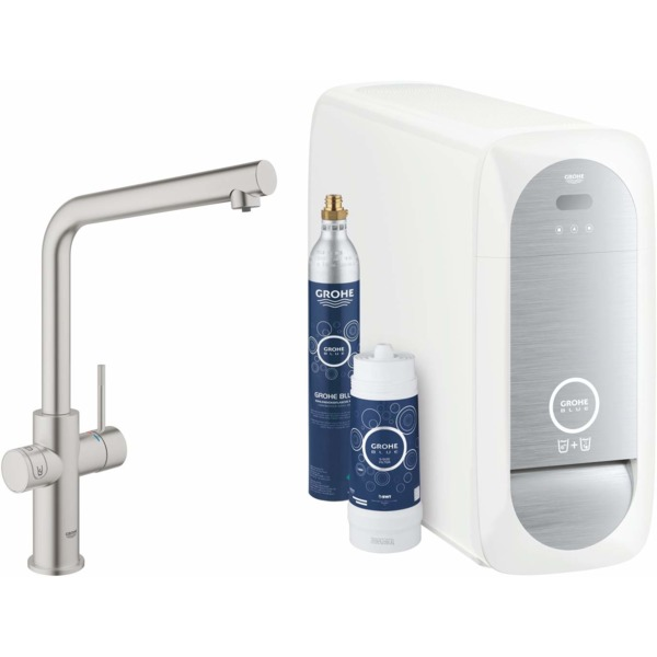 Grohe Blue Home 1-gats keukenkraan m. duo L-uitloop starterkit m. Wifi bluetooth Chilled & Sparkling