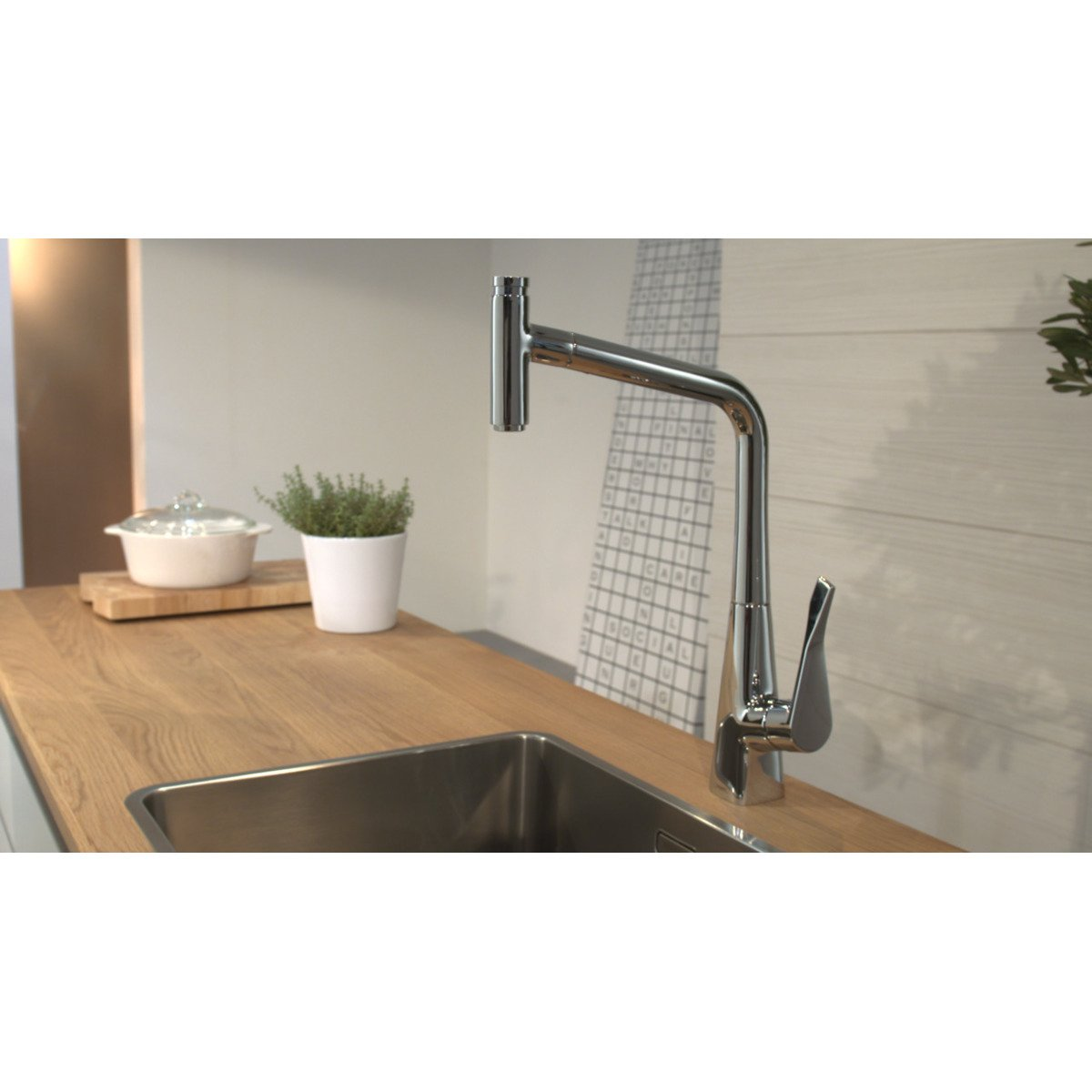 hansgrohe metris robinet de cuisine avec douchette extractible look inox 14820800. Black Bedroom Furniture Sets. Home Design Ideas