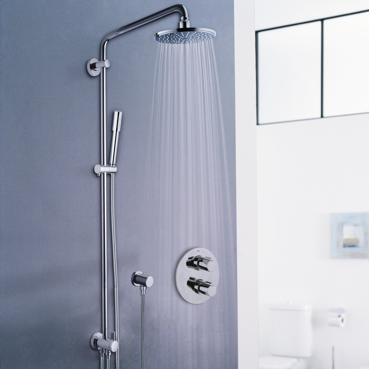 grohe rainshower modern douchesysteem met omstelling met hoofddouche en sena handdouche chroom. Black Bedroom Furniture Sets. Home Design Ideas
