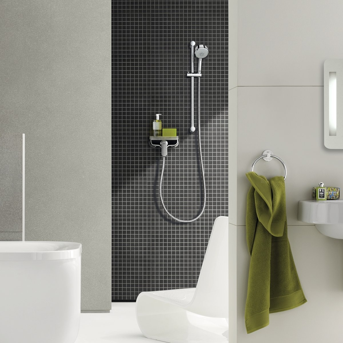 grohe eurosmart cosmopolitan douchekraan met koppelingen chroom 32837000. Black Bedroom Furniture Sets. Home Design Ideas