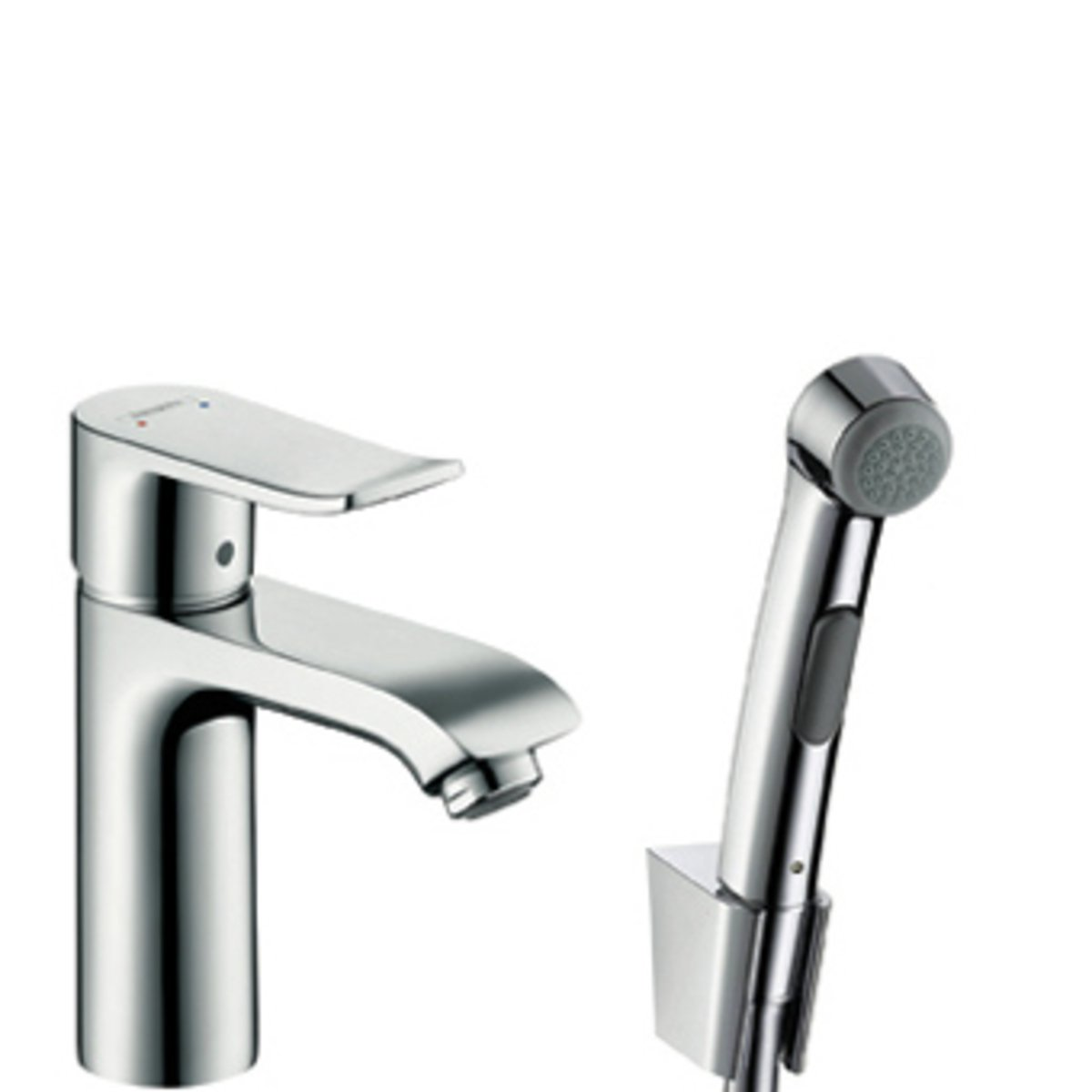 hansgrohe metris wastafelkraan inclusief bidetdouche chroom 31285000. Black Bedroom Furniture Sets. Home Design Ideas