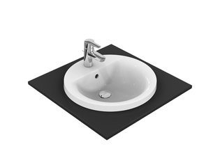 Ideal Standard Connect inbouwwastafel rond O48cm met overloop met kraangat Ideal plus wit 0181065