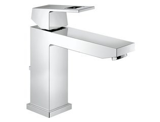 Grohe Eurocube wastafelkraan medium met waste 28mm met temperatuurbegrenzer chroom 0442041