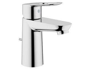 Grohe Bau Loop 1 gats wastafelkraan met waste met open greep chroom SW47040