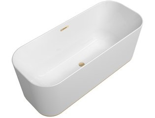 Villeroy & Boch Finion kunststof vrijstaand duobad quaryl ovaal m. watertoevoer 170x70x48cm incl. push-to-open afv.plug +overloop + designring champagne/wit SW106603