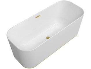 Villeroy & Boch Finion kunststof vrijstaand duobad quaryl ovaal m. watertoevoer m. Emotion functie 170x70x48cm incl. push-to-open afv.plug +overloop + designring gold/wit SW106613