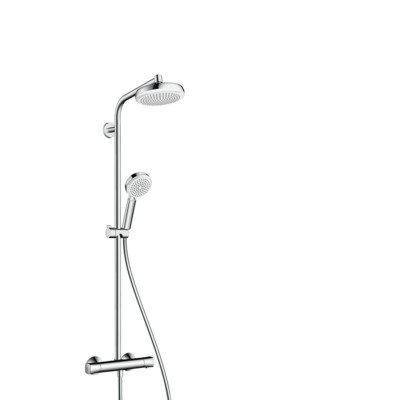 Hansgrohe Crometta 160 showerpipe met thermostaat wit/chroom