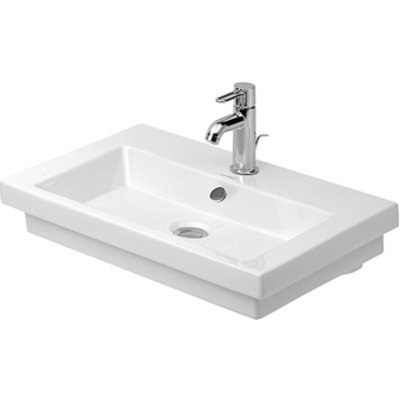 Duravit 2nd floor wastafel 60x43cm 1 kraangat wit OUTLET