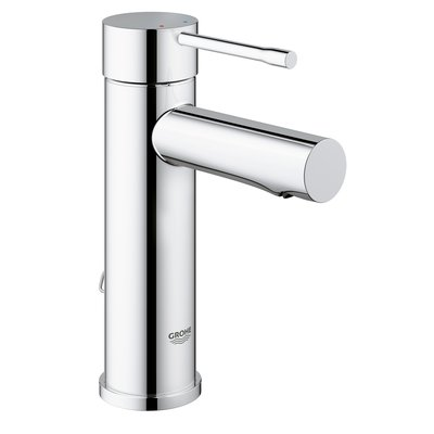 Grohe Essence New 1 gats wastafelkraan S size met ketting EcoJoy met 28mm cartouche chroom