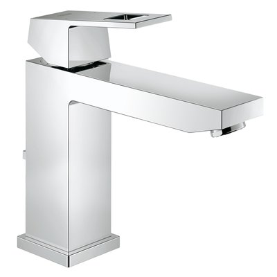 Grohe Eurocube wastafelkraan medium met waste 28mm met temperatuurbegrenzer chroom