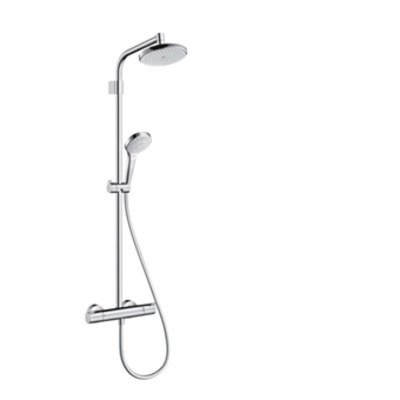 Hansgrohe Croma 220 Vario Top showerpipe v. renovatie m. Ecostat 1001 douchekraan thermostatisch m. Croma Select S Multi handd. en 220 Air hoofdd. chroom 27368000