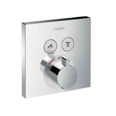 Hansgrohe ShowerSelect afbouwdeel v. inbouwkraan thermostatisch v. 2 douchefuncties m. start/stop-kraan brushed black chroom