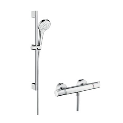 hansgrohe combi croma select s vario 0 65m ecostat comfort blanc chrom 27013400. Black Bedroom Furniture Sets. Home Design Ideas