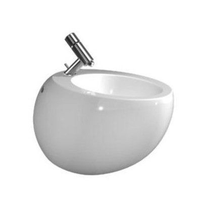 Laufen alessi wall mounted bidet with wonderglass with tap hole white