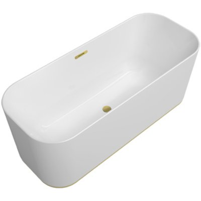 Villeroy & Boch Finion kunststof vrijstaand duobad quaryl ovaal m. Emotion functie 170x70x48cm incl. push-to-open afv.plug +overloop + designring gold/wit