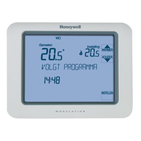 Honeywell Chronotherm klokthermostaat touch modulation met touchescreenbediening 7 31°C powerstealing zonder batterij wit 8303514