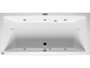 RIHO Lusso whirlpool bad 180x90cm met verlichting LCD display rechts Wit glans 6/4/2jets SW17073