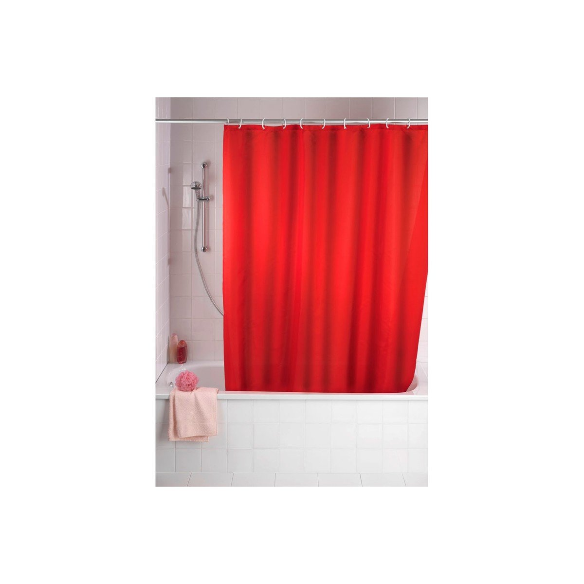 wenko rideau antimold rideau de douche 180x200cm polyester rouge 20037100. Black Bedroom Furniture Sets. Home Design Ideas
