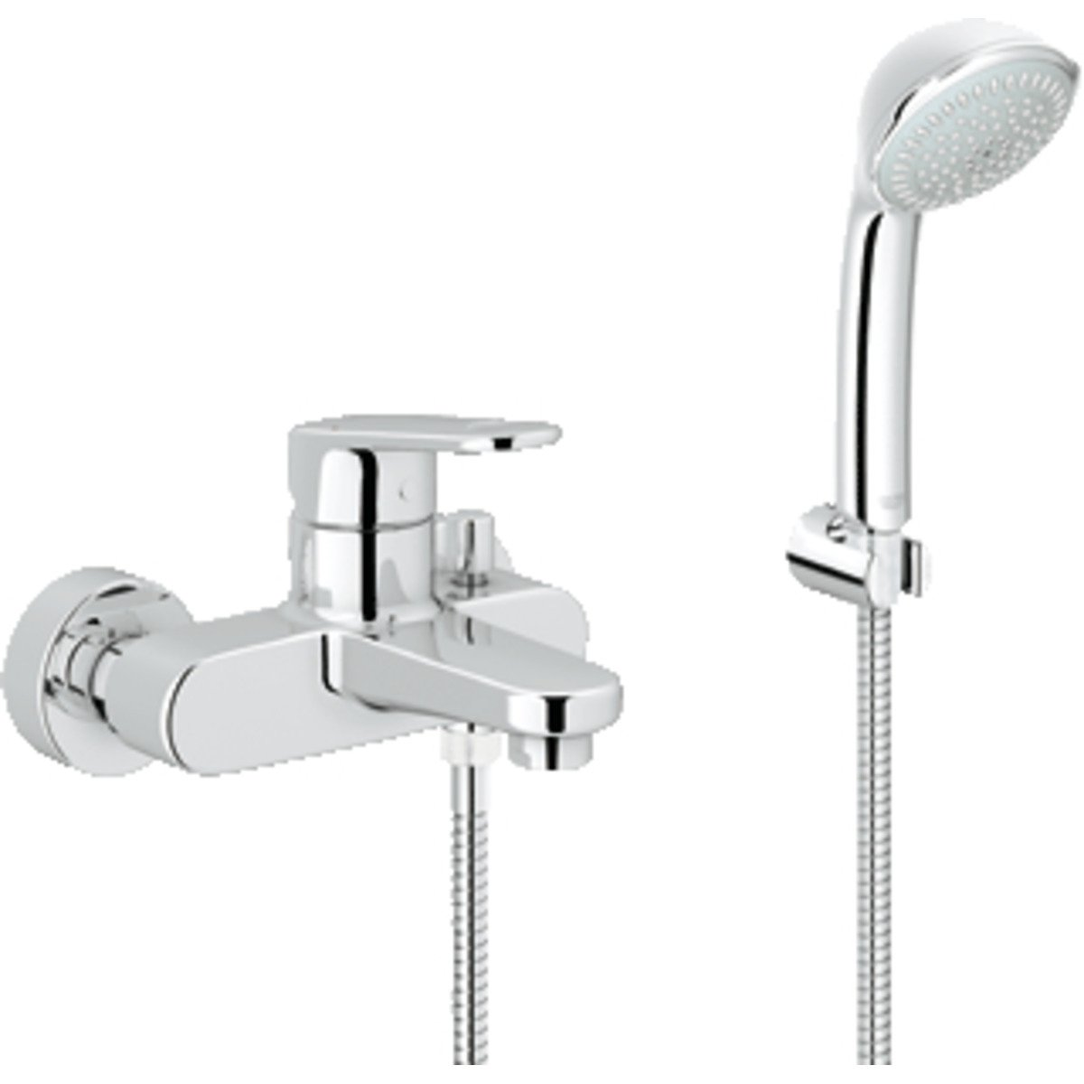 grohe europlus 3 robinet de bain avec inverseur et connexions avec garniture de douche chrome. Black Bedroom Furniture Sets. Home Design Ideas
