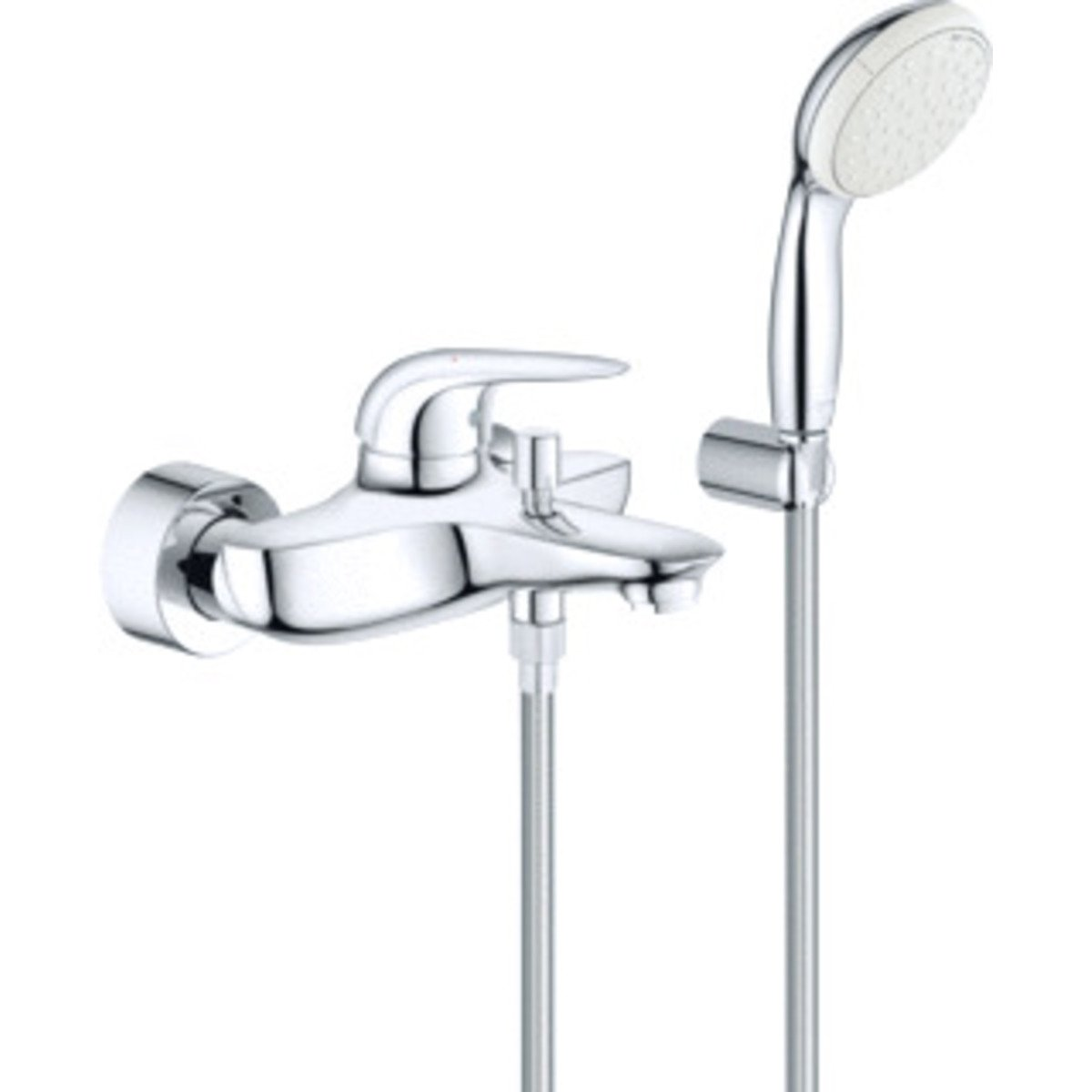 Grohe eurostyle new mitigeur bain mural entraxe 15cm avec for Mitigeur mural grohe