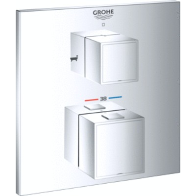 Grohe Grohtherm cube afdekset thermostaat met omstel chroom chroom