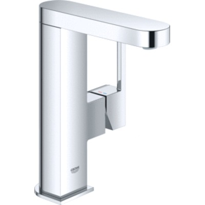 Grohe Plus 1-gats wastafelkraan M-size met gladdy body en push open waste chroom 23872003