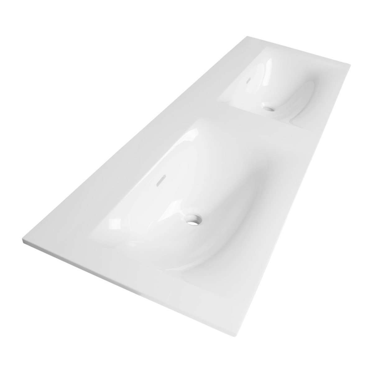 Saniclass Fiora Plan vasque 140cm finestone 2 vasques 2 trous de robinet  Blanc brillant