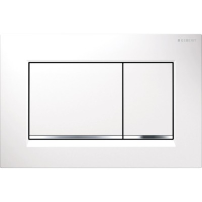Geberit Sigma 30 plaque de commande DF frontal 24.6x16.4cm pour réservoir Geberit Sigma UP blanc/chrome brillant/blanc